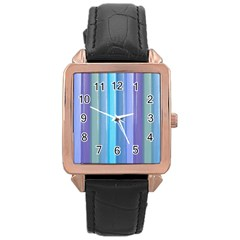 Provence Fields Lavender Pattern Rose Gold Leather Watch