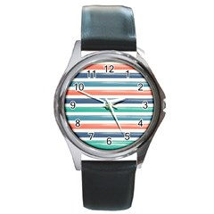 Summer Mood Striped Pattern Round Metal Watch by DanaeStudio