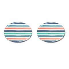 Summer Mood Striped Pattern Cufflinks (oval) by DanaeStudio