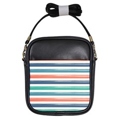 Summer Mood Striped Pattern Girls Sling Bags