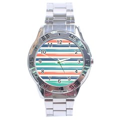 Summer Mood Striped Pattern Stainless Steel Analogue Watch by DanaeStudio