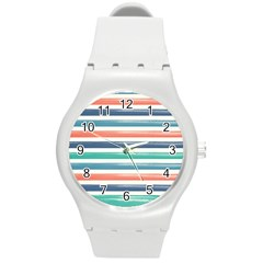 Summer Mood Striped Pattern Round Plastic Sport Watch (m)