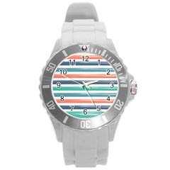 Summer Mood Striped Pattern Round Plastic Sport Watch (l)