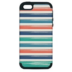Summer Mood Striped Pattern Apple Iphone 5 Hardshell Case (pc+silicone)