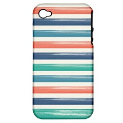 Summer Mood Striped Pattern Apple Iphone 4/4s Hardshell Case (pc+silicone)