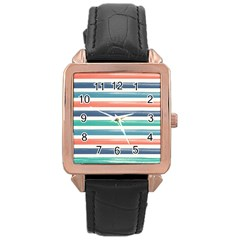 Summer Mood Striped Pattern Rose Gold Leather Watch