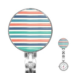 Summer Mood Striped Pattern Stainless Steel Nurses Watch