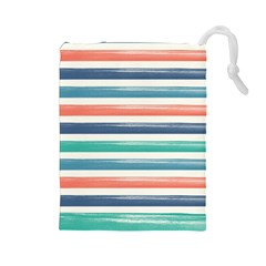 Summer Mood Striped Pattern Drawstring Pouches (large)