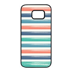 Summer Mood Striped Pattern Samsung Galaxy S7 Edge Black Seamless Case