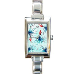 Tillansia Flowers Pattern Rectangle Italian Charm Watch