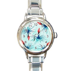 Tillansia Flowers Pattern Round Italian Charm Watch