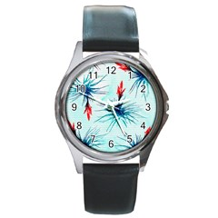 Tillansia Flowers Pattern Round Metal Watch