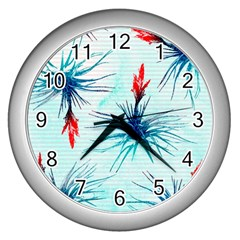 Tillansia Flowers Pattern Wall Clocks (silver)