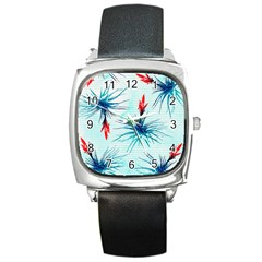 Tillansia Flowers Pattern Square Metal Watch by DanaeStudio