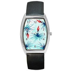 Tillansia Flowers Pattern Barrel Style Metal Watch