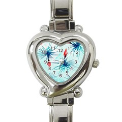 Tillansia Flowers Pattern Heart Italian Charm Watch