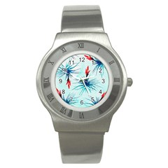 Tillansia Flowers Pattern Stainless Steel Watch