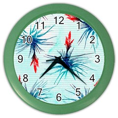 Tillansia Flowers Pattern Color Wall Clocks by DanaeStudio