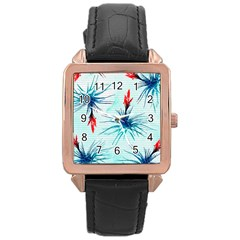 Tillansia Flowers Pattern Rose Gold Leather Watch