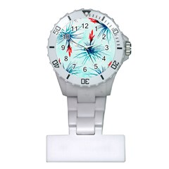 Tillansia Flowers Pattern Plastic Nurses Watch