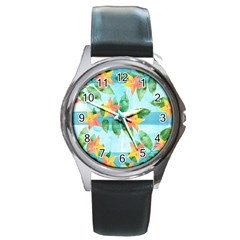 Tropical Starfruit Pattern Round Metal Watch by DanaeStudio