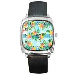 Tropical Starfruit Pattern Square Metal Watch by DanaeStudio