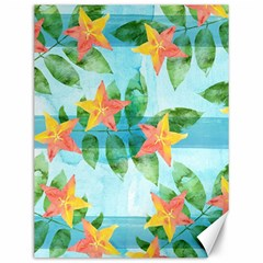 Tropical Starfruit Pattern Canvas 12  X 16   by DanaeStudio