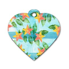 Tropical Starfruit Pattern Dog Tag Heart (two Sides) by DanaeStudio