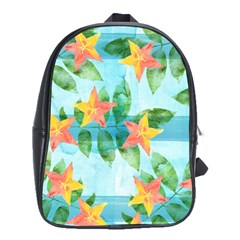 Tropical Starfruit Pattern School Bags(large)  by DanaeStudio