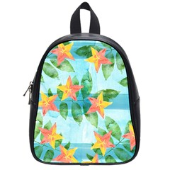 Tropical Starfruit Pattern School Bags (small)  by DanaeStudio