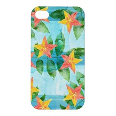 Tropical Starfruit Pattern Apple Iphone 4/4s Premium Hardshell Case by DanaeStudio