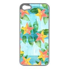 Tropical Starfruit Pattern Apple Iphone 5 Case (silver) by DanaeStudio