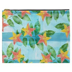 Tropical Starfruit Pattern Cosmetic Bag (xxxl)  by DanaeStudio