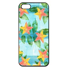 Tropical Starfruit Pattern Apple Iphone 5 Seamless Case (black) by DanaeStudio