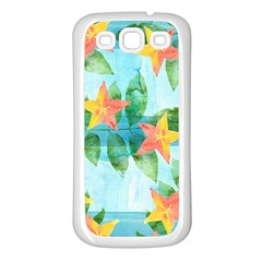 Tropical Starfruit Pattern Samsung Galaxy S3 Back Case (white) by DanaeStudio