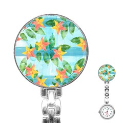 Tropical Starfruit Pattern Stainless Steel Nurses Watch