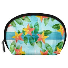Tropical Starfruit Pattern Accessory Pouches (large)