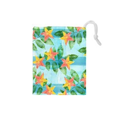 Tropical Starfruit Pattern Drawstring Pouches (small)