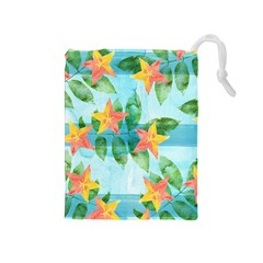 Tropical Starfruit Pattern Drawstring Pouches (medium)