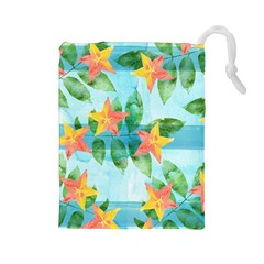 Tropical Starfruit Pattern Drawstring Pouches (large)