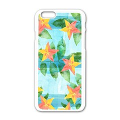 Tropical Starfruit Pattern Apple Iphone 6/6s White Enamel Case