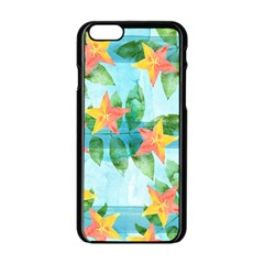 Tropical Starfruit Pattern Apple Iphone 6/6s Black Enamel Case
