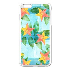 Tropical Starfruit Pattern Apple Iphone 6 Plus/6s Plus Enamel White Case