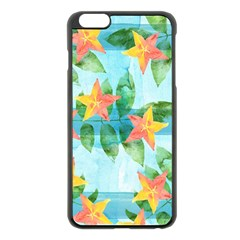 Tropical Starfruit Pattern Apple Iphone 6 Plus/6s Plus Black Enamel Case