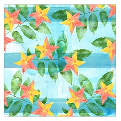 Tropical Starfruit Pattern Large Satin Scarf (square)