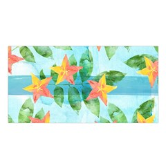 Tropical Starfruit Pattern Satin Shawl