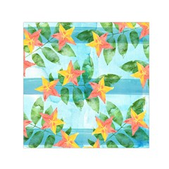 Tropical Starfruit Pattern Small Satin Scarf (square)