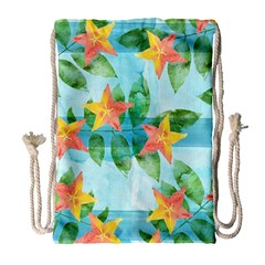 Tropical Starfruit Pattern Drawstring Bag (large)