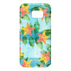 Tropical Starfruit Pattern Samsung Galaxy S7 Edge Hardshell Case by DanaeStudio