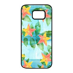 Tropical Starfruit Pattern Samsung Galaxy S7 Edge Black Seamless Case
